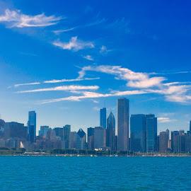 Chicago Skyline by Nirmal Kumar - City,  Street & Park  Skylines ( skyline, lake michigan, blue sky, sunny, day )