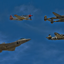 Heritage Flight by Tom Anderson - Transportation Airplanes ( day 2, calfornia, usaf, fighter, chino, planes of fame 2014 air show, usaf heritage flight )