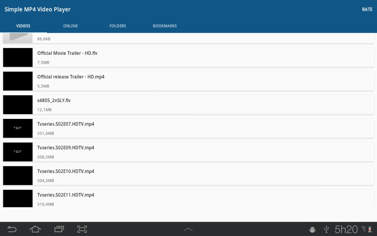 Einfache MP4 Video Player – Screenshot