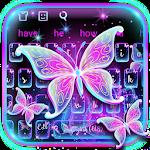 Galaxy Glitter Neon Butterfly Keyboard Icon