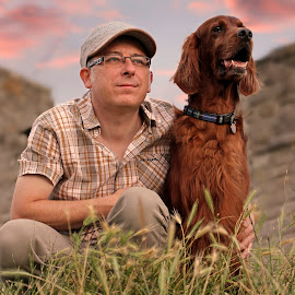 Mans best friend by Ken Jarvis - People Portraits of Men ( irish setter, dog portrait, irish, dog, man )
