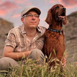 Mans best friend by Ken Jarvis - People Portraits of Men ( irish setter, dog portrait, irish, dog, man )