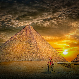 Towards Aten by Khaled Noaman - Buildings & Architecture Statues & Monuments ( camel, sunset, pyramid, sun, egytp )