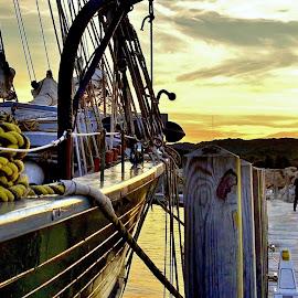 Schooner Talk by Tim Hall - Transportation Boats ( lake michigan, harbor, tall ship, harbour, mooring, grand traverse bay, great lakes, sailing ship, dock, morred schooner, schooner, traverse city )