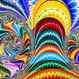 Rolling On The Rainbow by Peggi Wolfe - Illustration Abstract & Patterns ( abstract, wolfepaw, gift, unique, bright, illustration, fun, digital, print, décor, roll, pattern, arc, color, unusual, fractal, rainbow )