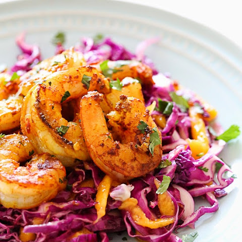 Turmeric-Garlic Shrimp with Cabbage-Mango Slaw