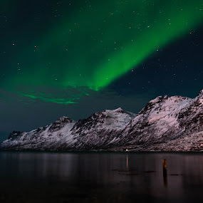 Northen Lights over Ersfjordbotn I by Pierre Husson - Landscapes Starscapes ( winter, aurora borealis, ersfjordbotn, nightscape, norway )