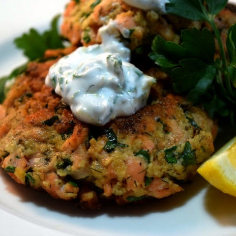 Super Simple Salmon Cakes with Lemon Herbed Yogurt