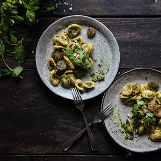 Orecchiette With Spring Herb Pesto & Sausage.