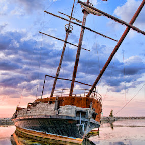 Boat at Beacon Harbour by Elvis Dorencec - Landscapes Waterscapes ( jordan, beacon harbour, topaz filter, boat )
