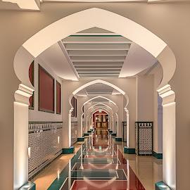 Burj Al Arab - Interior by Karim Eldeghedy - Buildings & Architecture Office Buildings & Hotels ( arab, islam, d750, color, dubai, framed, burj al arab, architectural, 16-35mm, architecture, symmetry, nikon )
