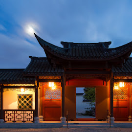 The Moon Shines Here and in My Homeland by Briand Sanderson - Buildings & Architecture Other Exteriors ( seattle, chinese gate, night, moonlight, moonrise, gate, chinese architecture, chinese garden )