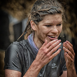 Anke by Marco Bertamé - Sports & Fitness Other Sports ( differdange, hands, strong, woman, 2015, smille, drops, lady, waterdrops, strongmanrun, running, luxembourg )