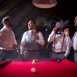 The guys by Lood Goosen (LWG Photo) - Wedding Getting Ready ( groomsmen, wedding photography, wedding photographers, wedding day, weddings, wedding, cigars, best man, wedding photographer, groom, guys, grooms )