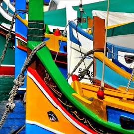 Colors, Colors and Colors by Francis Xavier Camilleri - Transportation Boats ( abstract, prows, patterns, malta, ropes, luzzu, shapes )
