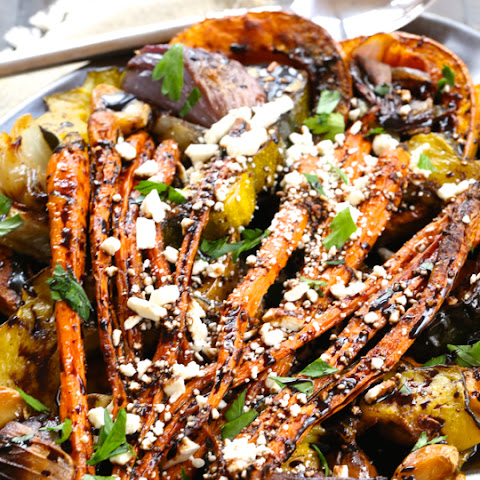 Roasted Vegetables with Feta and Balsamic Reduction