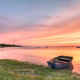 Sunrise at the Harbor by Steve Morrison - Landscapes Sunsets & Sunrises ( orleans, reflection, nauset harbor, sunrise, boat, cape cod, anchor )