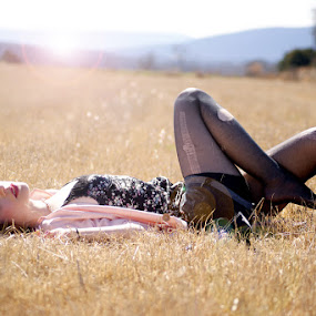 Carefree by Sarah Minnihan - People Portraits of Women ( field, flare, women )