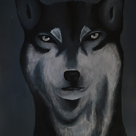 Mystic Wolf by Claire Simpson - Painting All Painting ( mystic, black and white, wolf, majestic, painting )