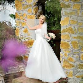 behind purple by Klaudia Klu - Wedding Bride ( white, veil, smile, bride )