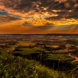 The Morning Glory by Joseph Law - Landscapes Sunsets & Sunrises ( sand, alberta, horse shoe, morning glory, canyon, sunshine, tourism, drumheller, formation )
