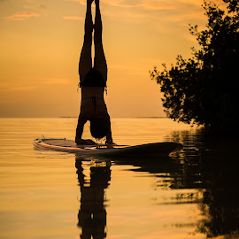 Be Very Still by Troy Wheatley - Sports & Fitness Watersports ( water, sunset, paddleboard, sup, yoga )