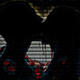 Blood Lust behind the Blinds by Nancy Bowen - Novices Only Portraits & People ( kissing, silhouette, blinds, couple )