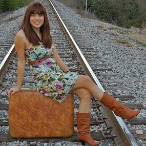 Nicole by Briana Jones - People High School Seniors ( girl, suitcase, railroad )