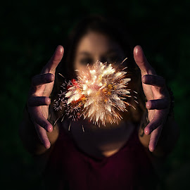 Fireworks by Kyle Re - Digital Art People ( creative, fourth of july, hands, explosion, digital art, dark, fireworks, beauty, sparks, light, fire )