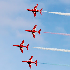 red arrows by Peter Salmon - Transportation Airplanes ( arrows, sky, red, blue, high )