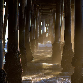 Under the Pier by Kyle Rea - Landscapes Beaches ( water, warm, calmness, relax, waves, fine art, ocean, enjoy, beach, wall art, house decoration, life, canvas art, sunset, sunbath, meditation, farmer's tan, summertime, planet earth,  )