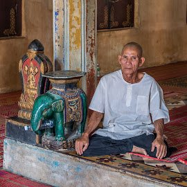 Minding the Temple by Gary Stanley - People Portraits of Men ( monk, bo wat, buddhist, khymer, cambodia, siem reap )