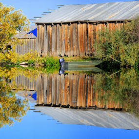 Barn and Boat  Waiting by Susan Hanson - Buildings & Architecture Other Exteriors ( pwcarcreflections )