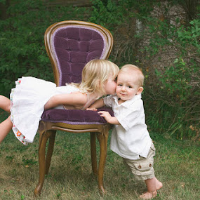 The Kiss by Kristen VanDeventer Rice - Babies & Children Children Candids ( love, pure, chair, kiss, purple, innocence, siblings )