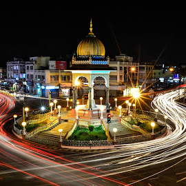 K R Circle, Mysore by Manjunatha N - Buildings & Architecture Statues & Monuments ( mysore, light trials, kr circle, night, long exposure, city at night, street at night, park at night, nightlife, night life, nighttime in the city )