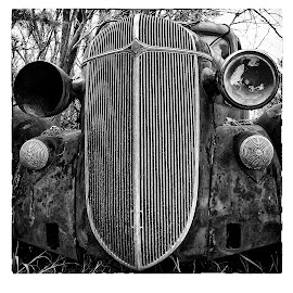 Rusty car by Gayle Mittan - Transportation Automobiles ( car, grill, black and white, vintage, automobile, square format, auto, rusty, antique )