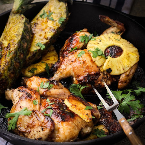 Pineapple Teriyaki Grilled Cornish Hens