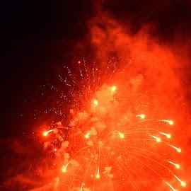 Fireworks Celebration by Florentina  Arvanitaki - Abstract Fire & Fireworks ( red, celebration, fireworks, new yeat, lights )