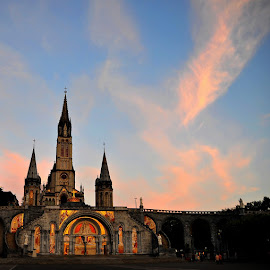 A Sign in the Sky by Francis Xavier Camilleri - City,  Street & Park  Historic Districts ( cloud formations, sky, church, sunset, france, architecture, lourdes )