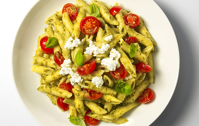 Penne with Basil Pesto, Cherry Tomatoes & Ricotta Recipe | Yummly