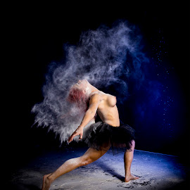 Flour Dance by Mel Stratton - Nudes & Boudoir Artistic Nude ( studio, model, nude, holly, flour, blue, bomb, photoshoot, puff, light, dancer )