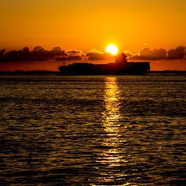 Leaving Port by Alan Rossnagel - Transportation Boats ( florida, sunset, ship, tampa, ocean, cargo )