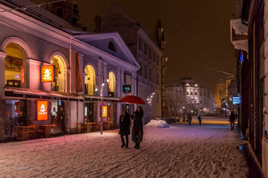 by Mario Horvat - City,  Street & Park  Street Scenes ( winter, cold, umbrella, snow, ljubljana, night )