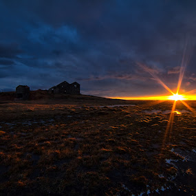 Sunrise in Iceland by Tim Vollmer - Landscapes Sunsets & Sunrises ( warm, barn, colors, ice, star, old barn, farmhouse, house, sunrise, sky clouds, sun )