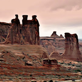 Hue by Irina Aspinall - Digital Art Places ( geology, history, pink hue, arches national park, arches )