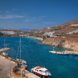 Mykonos by Leah Varney - Landscapes Beaches ( beaches, mountain, waterscape, greece, boats, landscape photography, travel, landscape, ocean view )