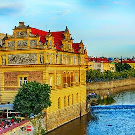 Buildings on Vltava shore by Radu Eftimie - City,  Street & Park  Vistas ( vltava river, buildings )
