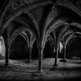 The Dark Crypt by John Walton - Black & White Buildings & Architecture ( #heritagefocus, #hastings, #battle )