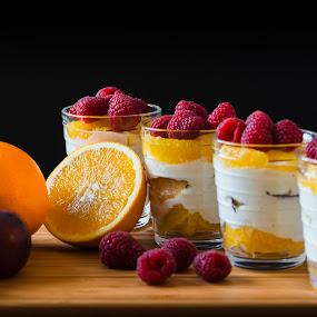 Fruit dessert by Juha Kauppila - Food & Drink Candy & Dessert ( orange, fruit, red, glasses, rasperry, plum )
