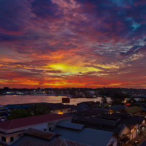 Thursday Eve by Danial Abdullah - Landscapes Sunsets & Sunrises ( sky, village, sunset, cloud, golden hour, labuan )